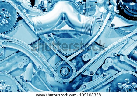 Car engine part - Close up image of an internal combustion engine - stock photo