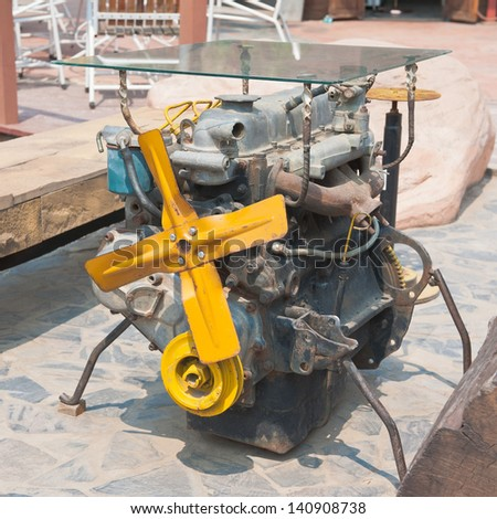 Car engine ,recycle use for table - stock photo