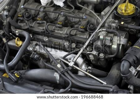 car engine repair shop - stock photo