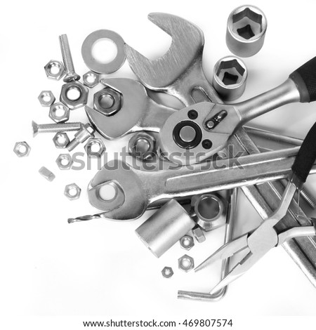 car engine with tools isolate on white background