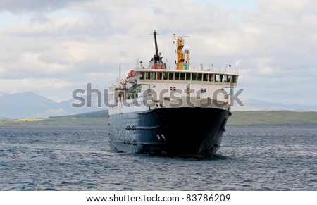 Car ferry in the Scottish Islands - stock photo