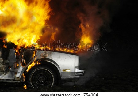 car fire - stock photo