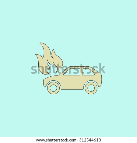 Car fire. Flat simple line icon. Retro color modern illustration pictogram. Collection concept symbol for infographic project and logo - stock photo