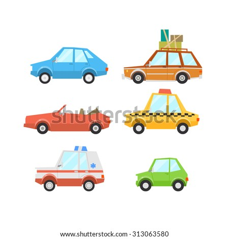 Car Flat Icon Set including hatch-back, minivan, convertible, taxi, ambulance and mini car - stock photo