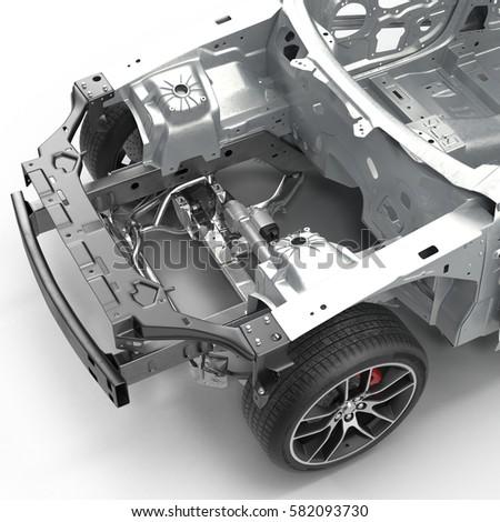 Car Frame Chassis On White 3 D Stock Illustration 582093730 ...