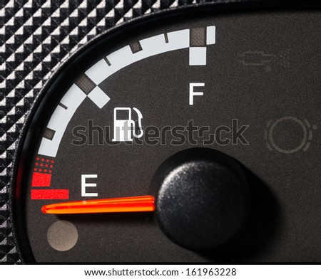 Car fuel gauge empty - stock photo