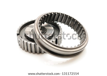 Car gears isolated on white background with mirror reflections. - stock photo