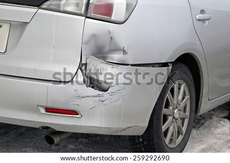 Car get damaged by accident - stock photo