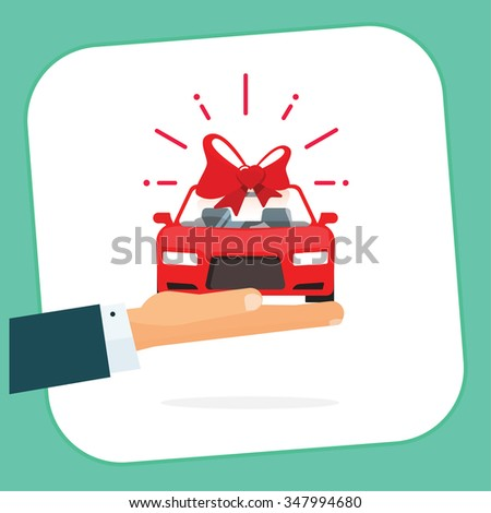 Car gift badge illustration, hand holding red auto with bow label, automobile gift logo concept, flat happy symbol, free delivery service ribbon, sticker icon design isolated on white, sign, image - stock photo