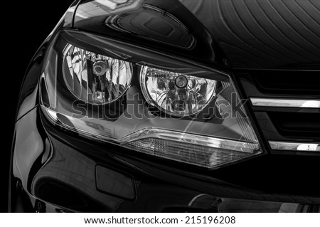 Car headlights. Exterior detail. - stock photo