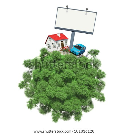 Car, house and advertising board on a small planet with trees