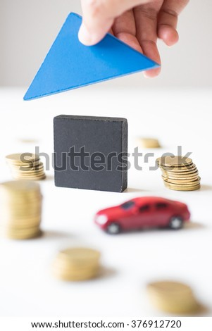 Car, House and pile of coin. - stock photo