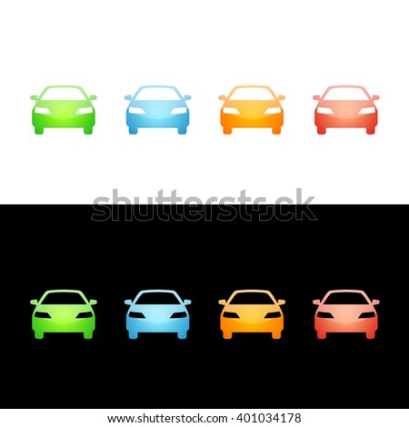 Car Icon Glossy Glass Icons in Four Colors. Raster Version - stock photo