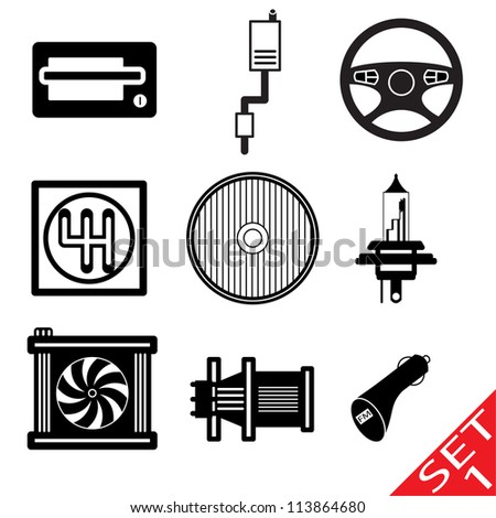Car icon parts and accessories. Vector version also available in my portfolio. - stock photo