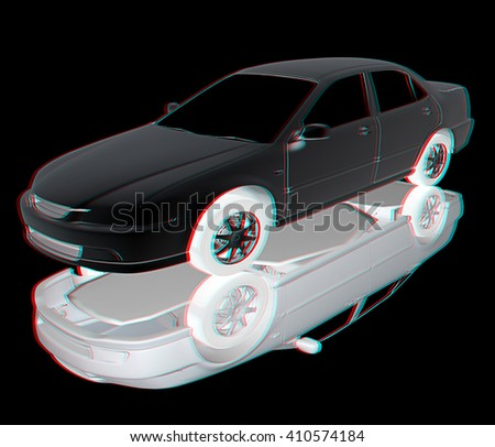 Car Illustrations . 3D illustration. Anaglyph. View with red/cyan glasses to see in 3D.