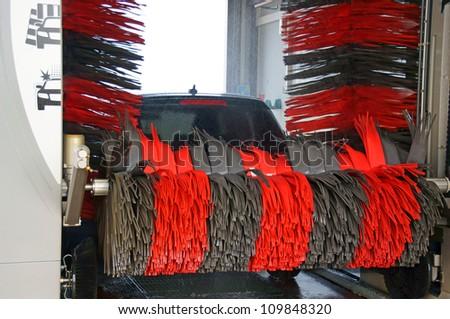 Car in car wash / car wash - stock photo