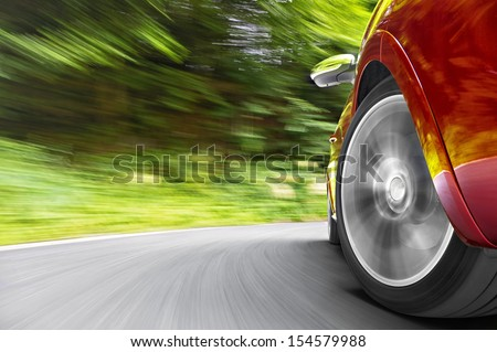 Car in curve - stock photo