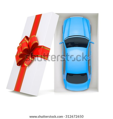 Car in gift box with ribbon on isolated white background, top view - stock photo