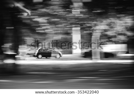 Car in motion - stock photo