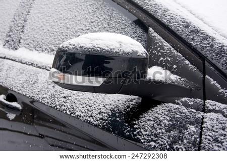 Car in snow - stock photo