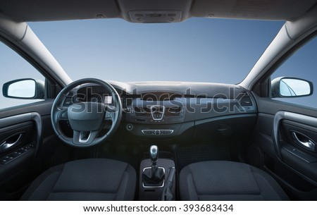 Car inside composition. Concept and idea