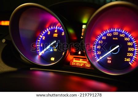 Car instrument panel - stock photo