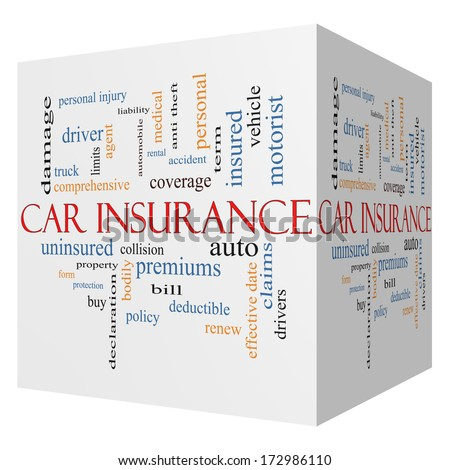 Car Insurance 3D Cube Word Cloud Concept with great terms such as auto, claims, coverage, bill and more. - stock photo