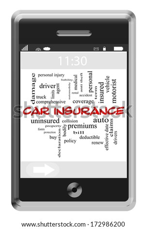 Car Insurance Word Cloud Concept of Touchscreen Phone with great terms such as auto, coverage, policy and more. - stock photo