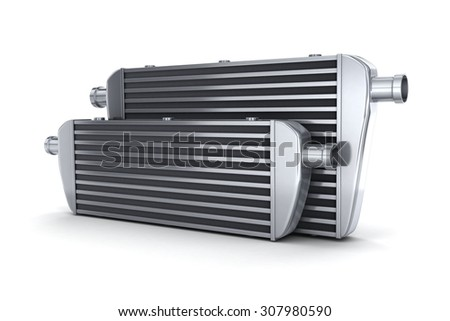Car intercooler (done in 3d, on white background) - stock photo