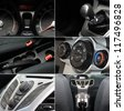 Car interior and dashboard collage . Various indicators , buttons and control - stock photo
