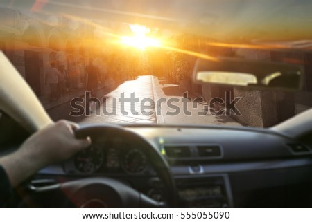 driver blinded by bright light stock photo 282002846 shutterstock. Black Bedroom Furniture Sets. Home Design Ideas