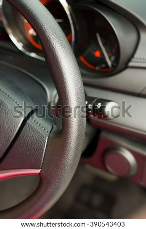 car interior, car wheel close up