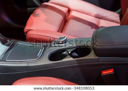 Car interior : Closeup of Cup Holder and car seat