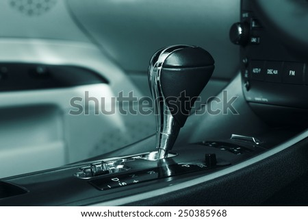 car interior .transmission closeup - stock photo