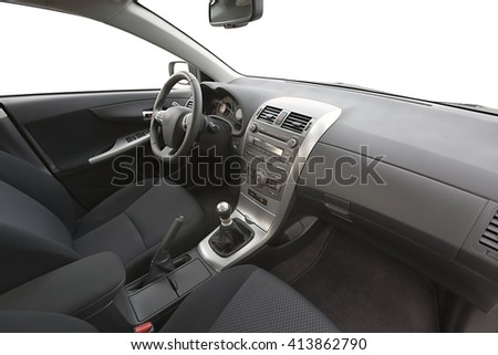 Car interior view with dashboard - stock photo