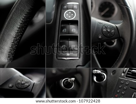 Car interior wheel, controls and radio details collage - stock photo