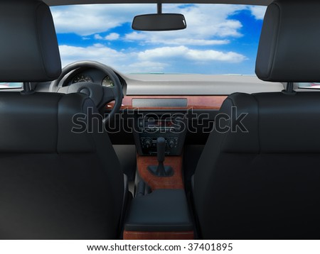 car interior whith look on sky