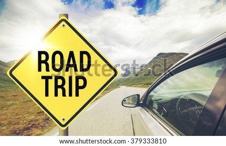 Car journey sign and Summer landscape. Journey by car, road, forest and sunshine. - stock photo
