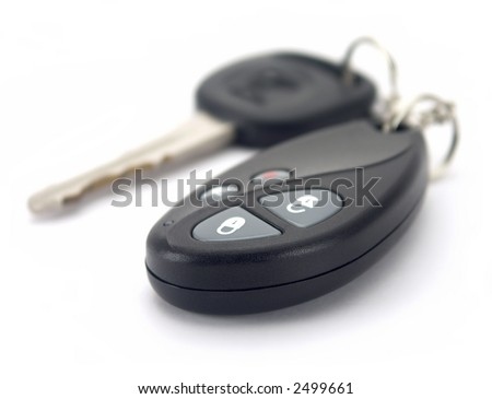 Car key and remote isolated on white.