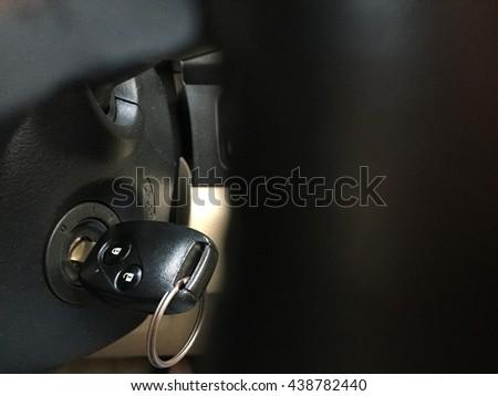 Car key, car key ring, car key in keyhole - stock photo