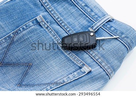 Car key placed on the jeans.
