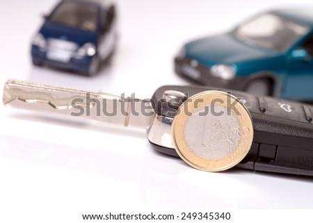 Car key with euro money / Car and Car Key - stock photo