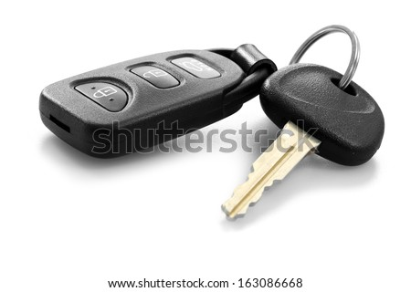 car key with remote control - stock photo