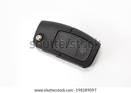 Car key with remote control isolated on white.
