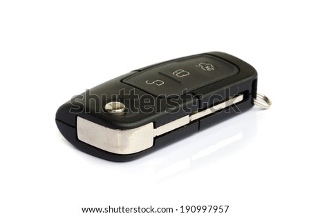 car key with remote  key isolated on white.