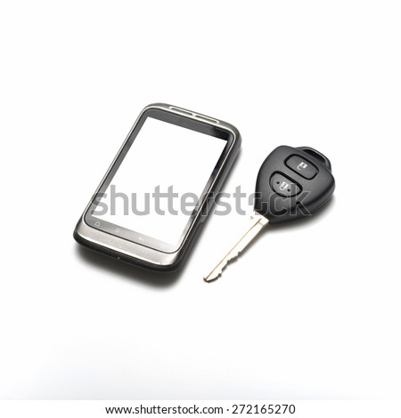 car key with smartphone isolated on white background