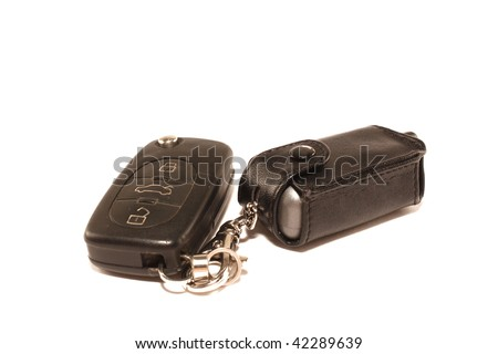 Car keys and charm on a white background