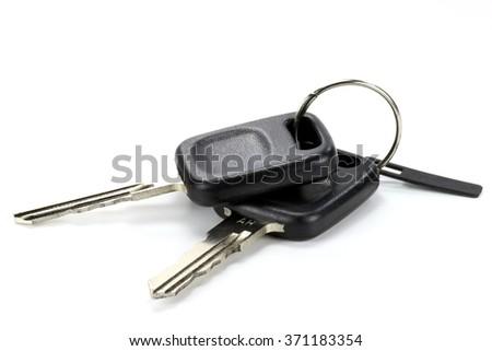 car keys isolated on white background - stock photo