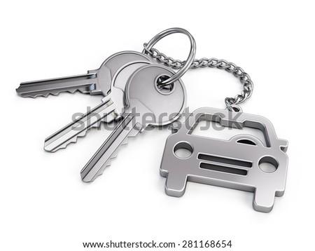 Car keys on white background - stock photo