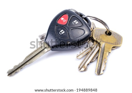 Car Keys on white background , Old and Used .  - stock photo